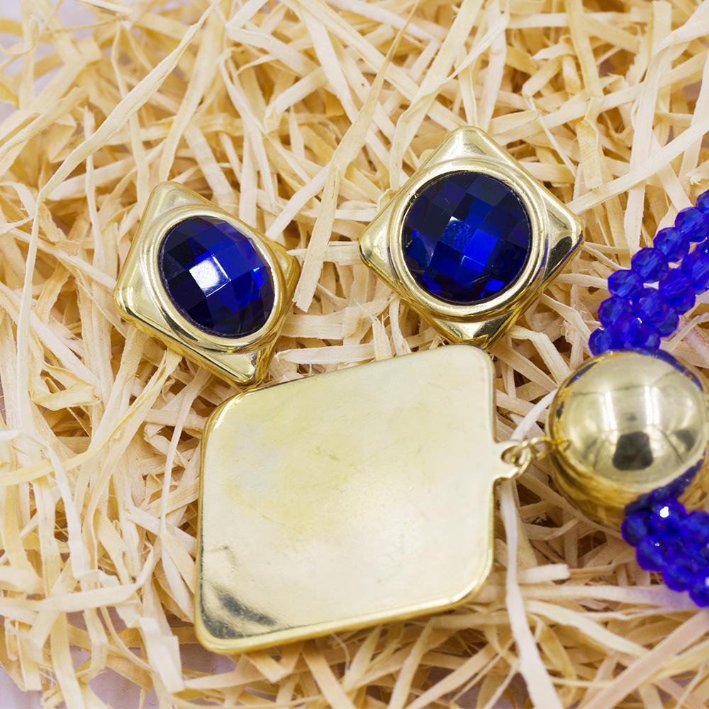 Fashion elegant style dubai gold  bridal jewelry set  with bule stone - AW00040ajia-371