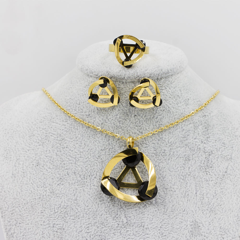 Factory price 4 pcs jewelry set unique fashion design in stainless steel - AW00042aima-371