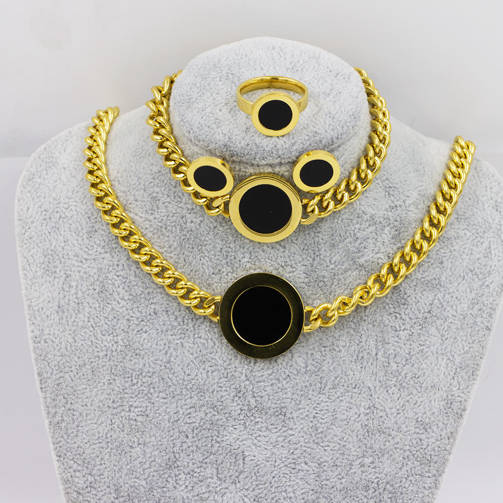 Stainless steel 4 pcs jewelry set fashion set jewelry in simple design - AW00043aima-371