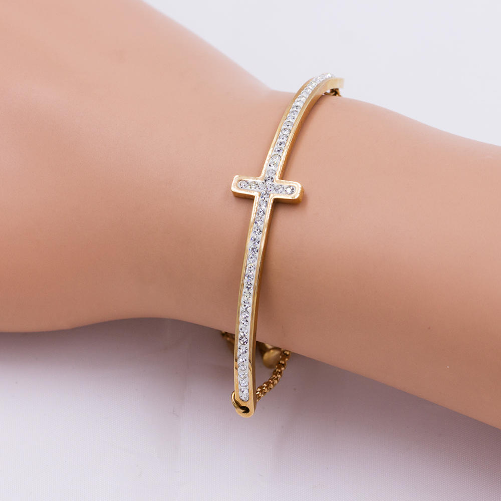 Vintage cuff bangle alloy bangle fashion cross design for women - AW00079vhkb-683