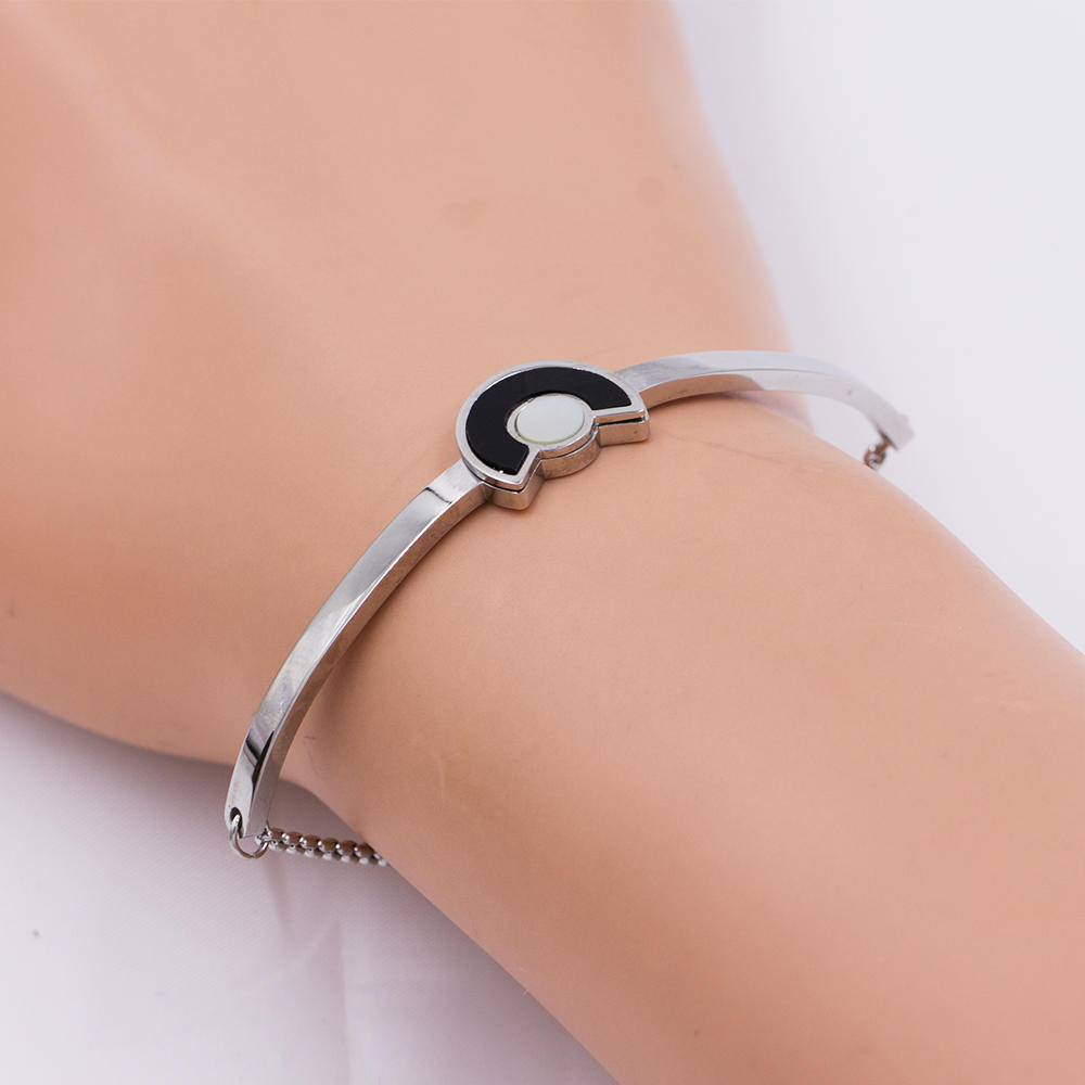 Stainless steel wide cuff bangle bracelet silver bangle for women - AW00083vhkb-683