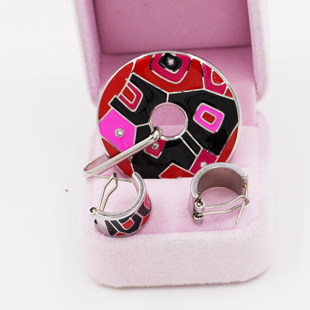 Wholesale stainless steel round style Drop Oil colorful Enamel women jewelry set