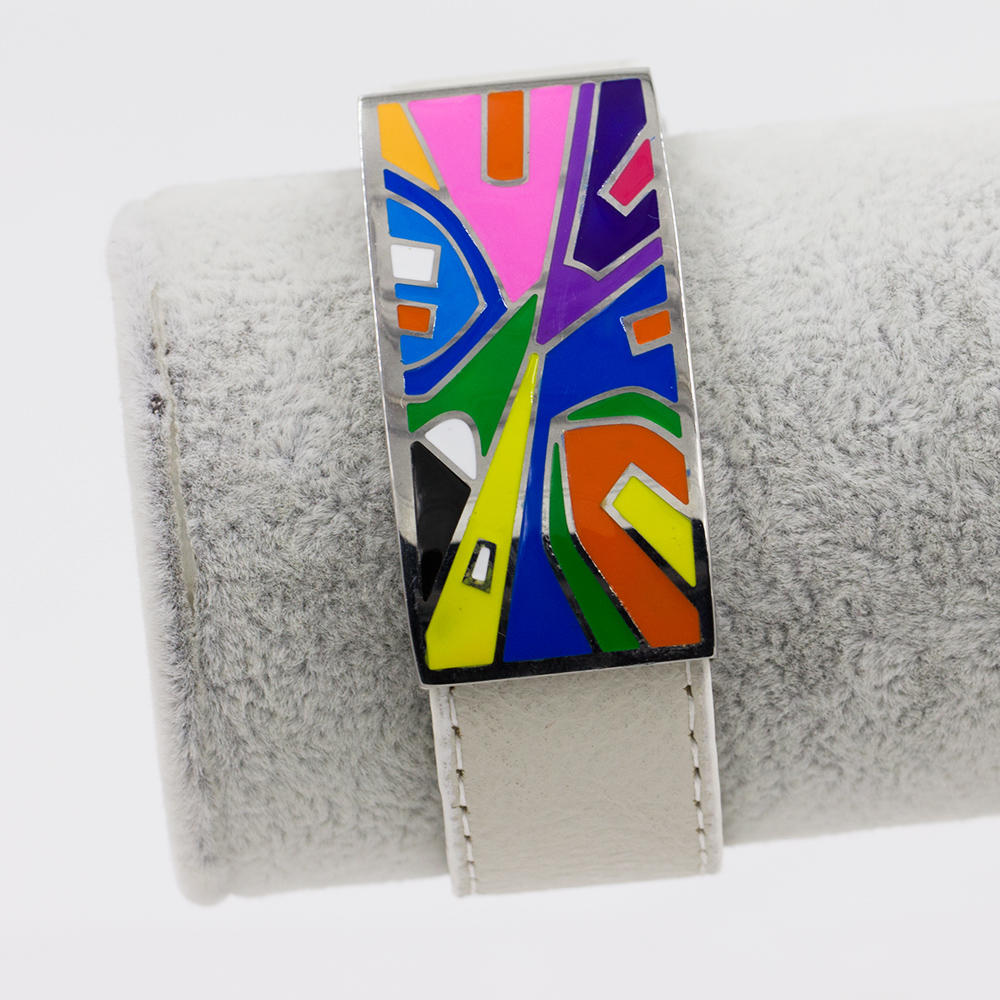 Wholesale Stainless Steel white color leather bracelet women colorful enamel bangle