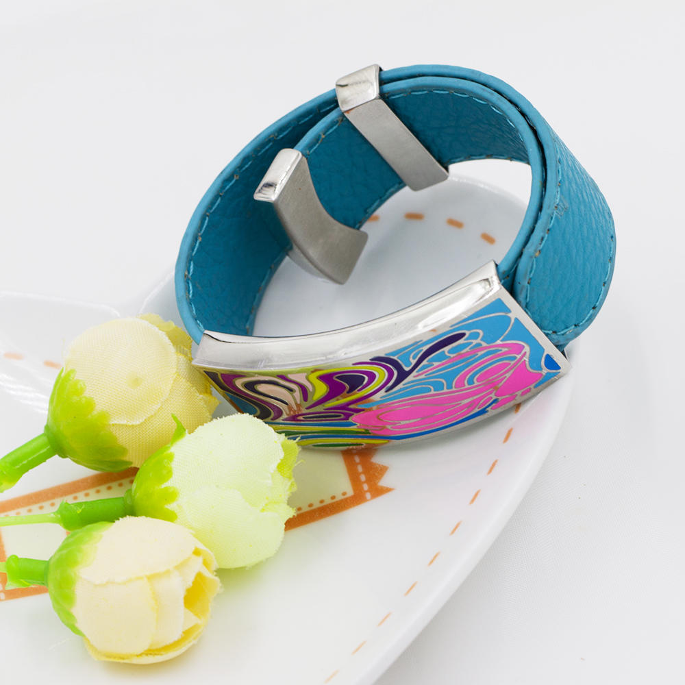 Wholesale Stainless Steel sky blue color leather bracelet women colorful enamel bangle