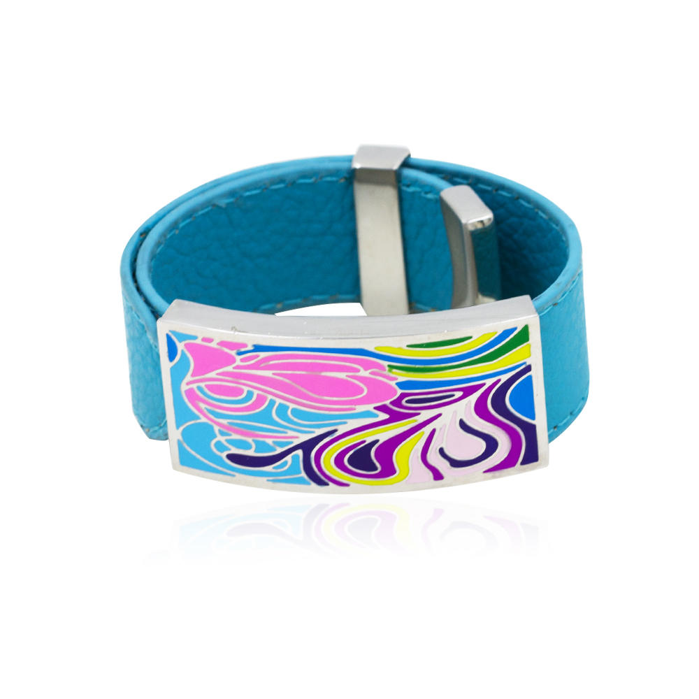 Wholesale Stainless Steel sky blue color leather bracelet women colorful enamel bangle