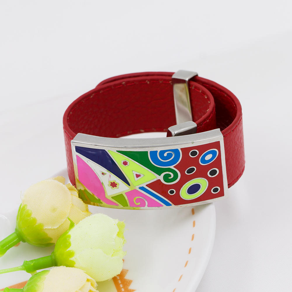 Wholesale Stainless Steel red leather bracelet women colorful enamel bangle