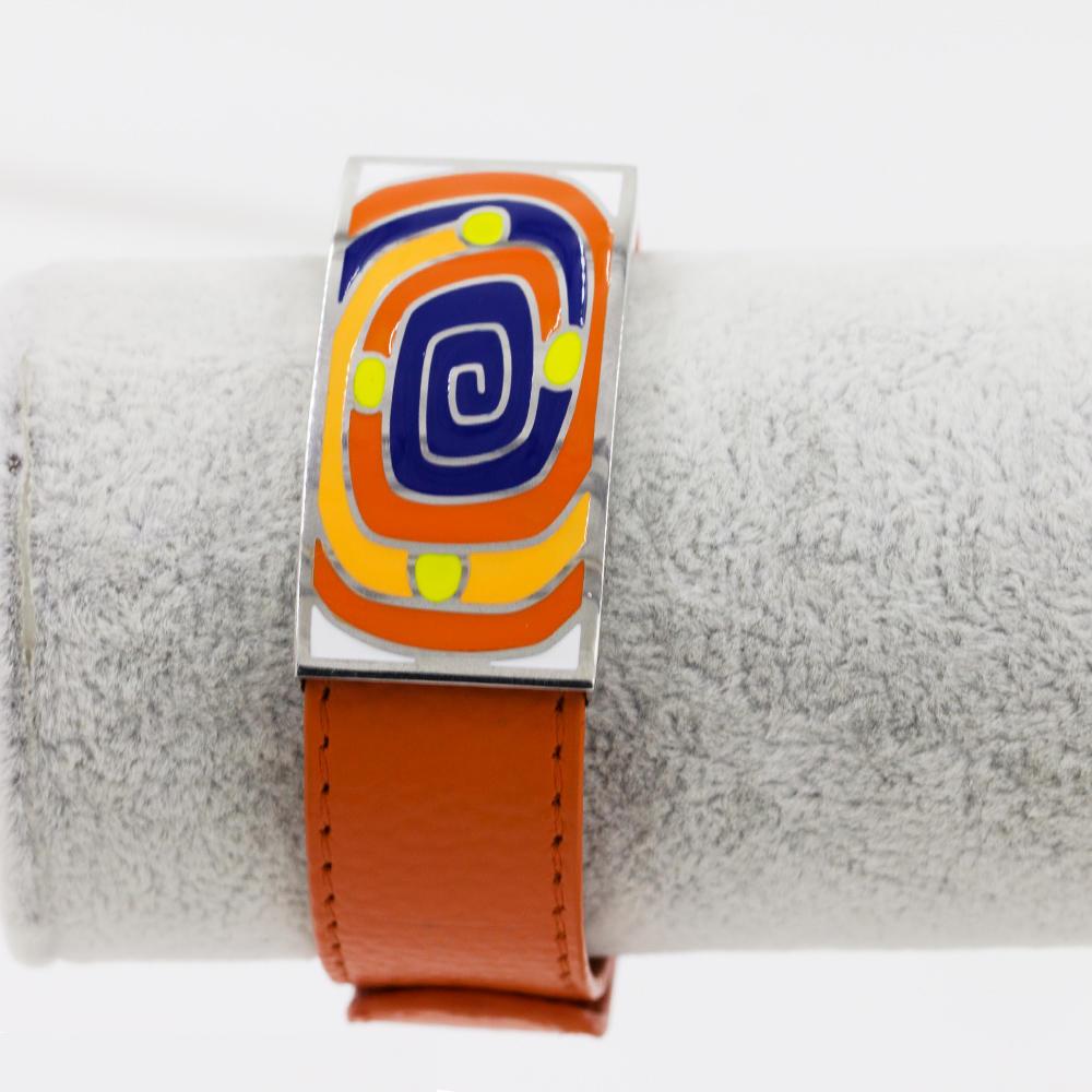 Wholesale stainless steel orange color Drop Oil colorful Enamel women leather bangle