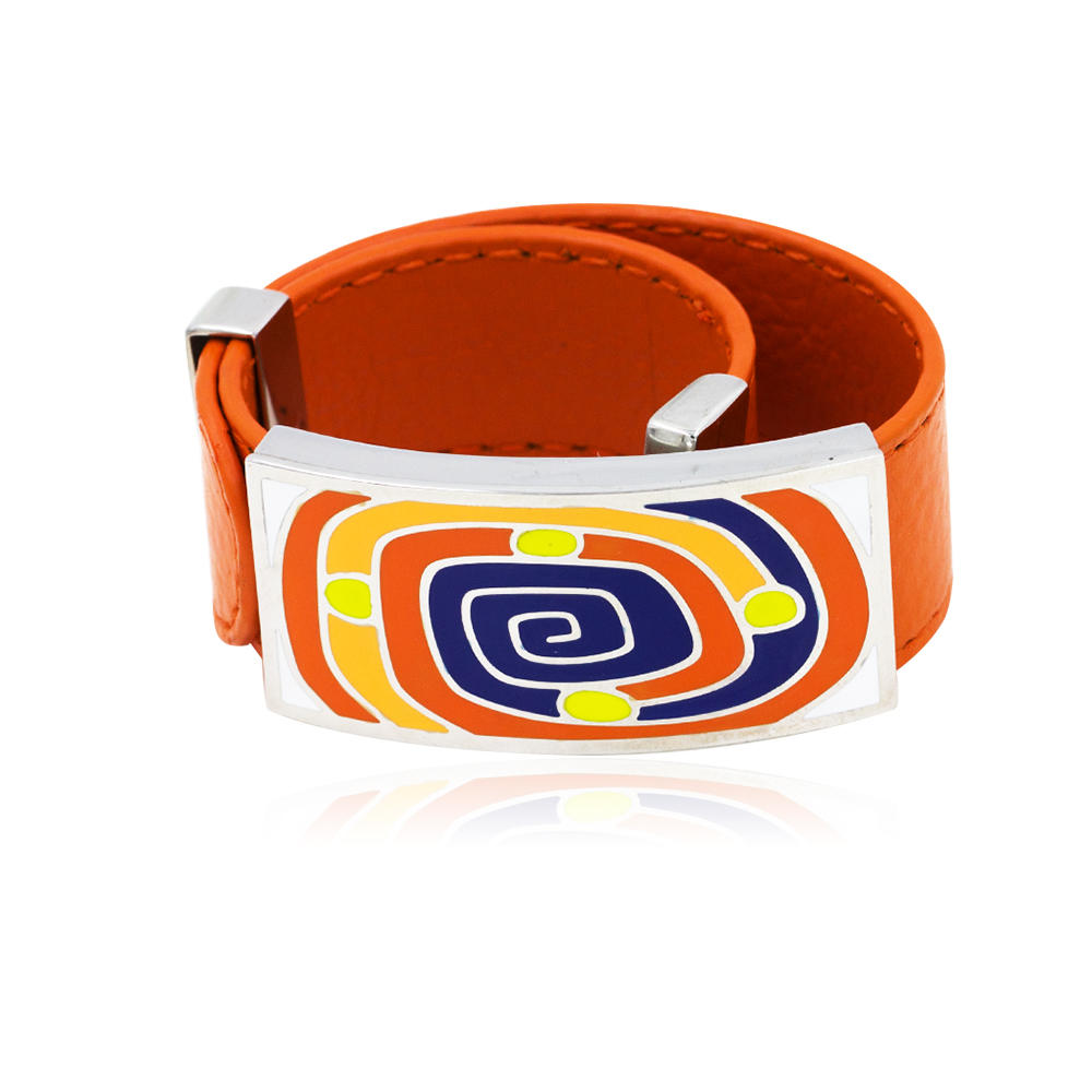 Wholesale stainless steel orange color Drop Oil colorful Enamel women leather bangle