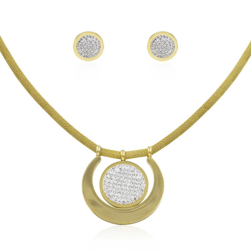 Stainless steel dubai gold cz jewelry set for women - AW00263aiov-371