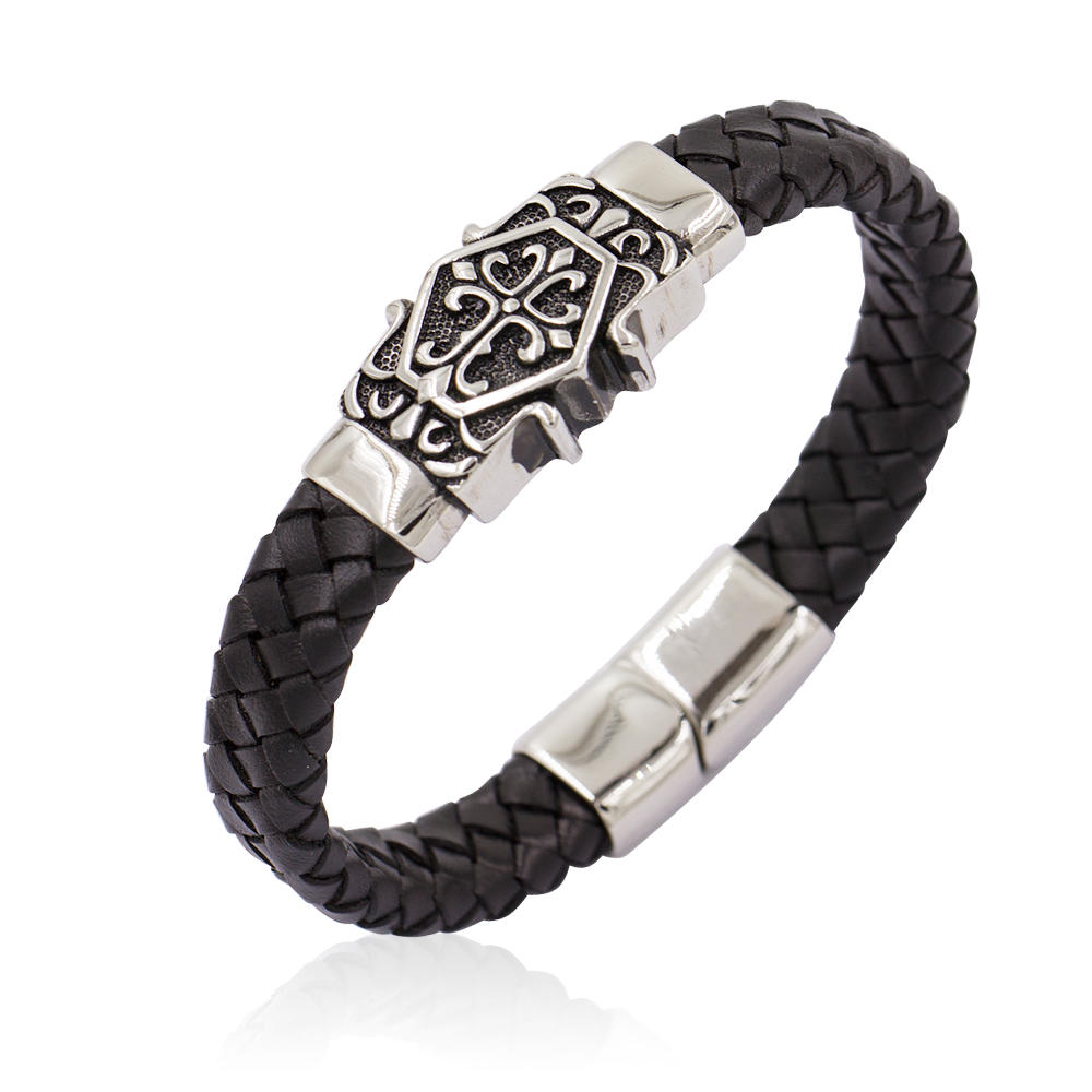 Fashion Stainless Steel Black Color Charm  Leather Bracelet Bangle For Men's Jewelry-AW00209-683