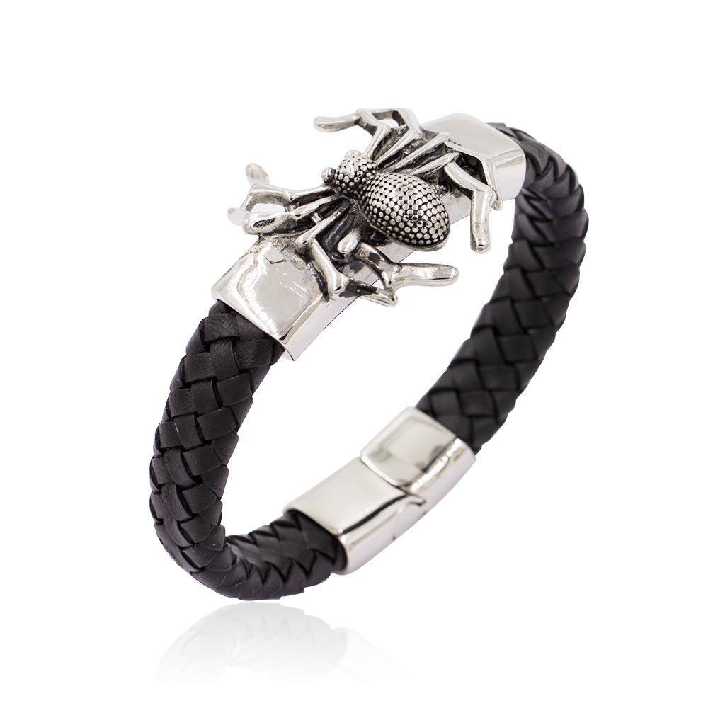 Cool Wrist Bracelet Genuine Leather Silver Metal Spider Men Jewelry Bracelet Bangle in Stainless Steel-AW00211-683