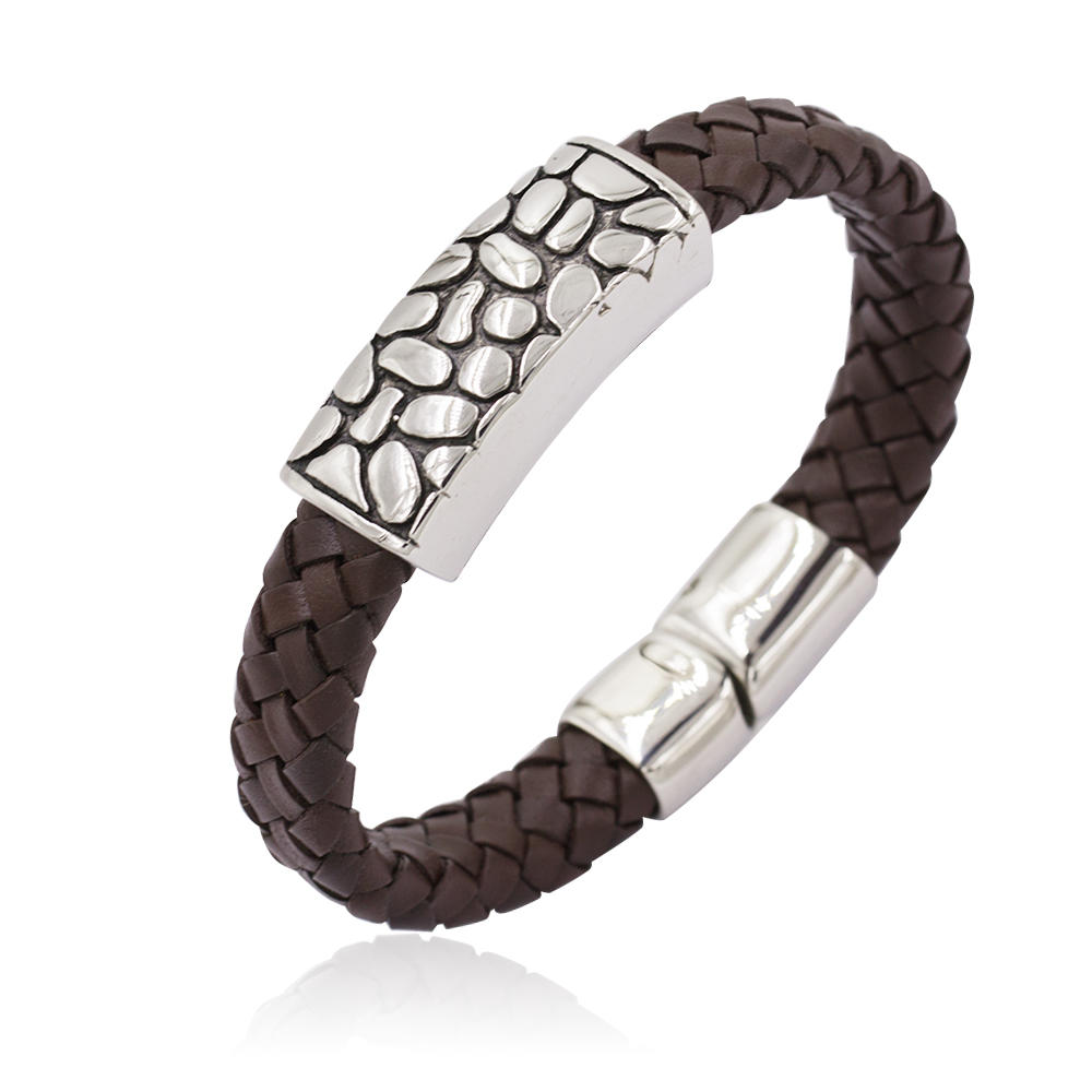 Wholesale Brown Color Genuine Leather Braided Bracelets Men Bangles Wristband Stainless Steel Bangle-AW00212-683