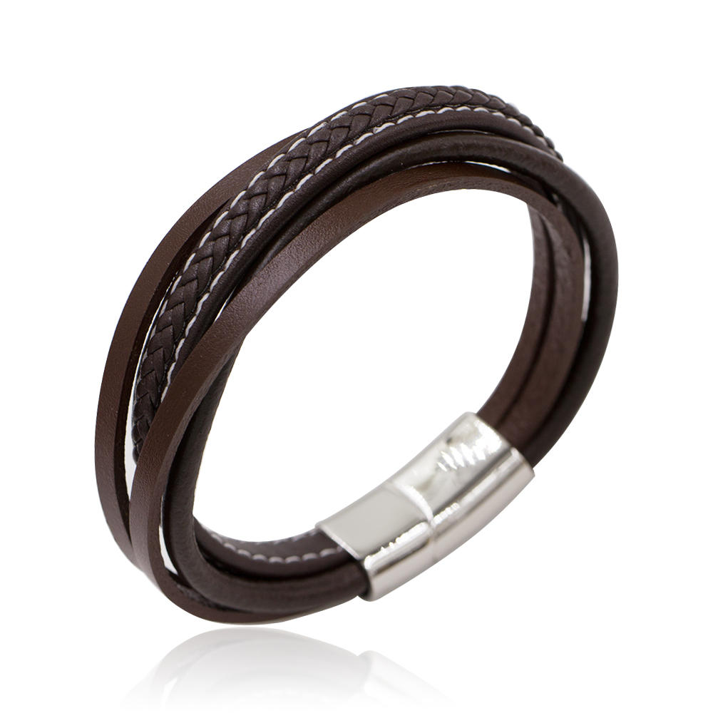 Fashion Stainless Steel Brown Color Charm  Leather Bracelet Bangle For Men's Jewelry