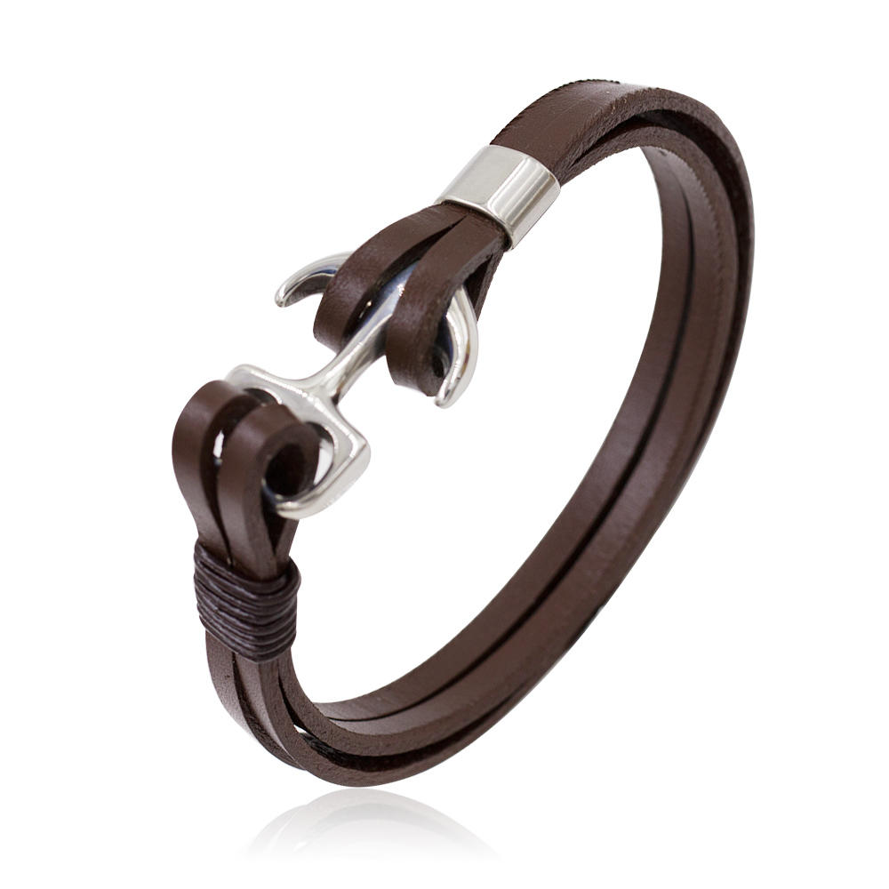 Cool Wrist Bracelet Genuine Leather Silver Metal Men Jewelry Bracelet Bangle in Stainless Steel