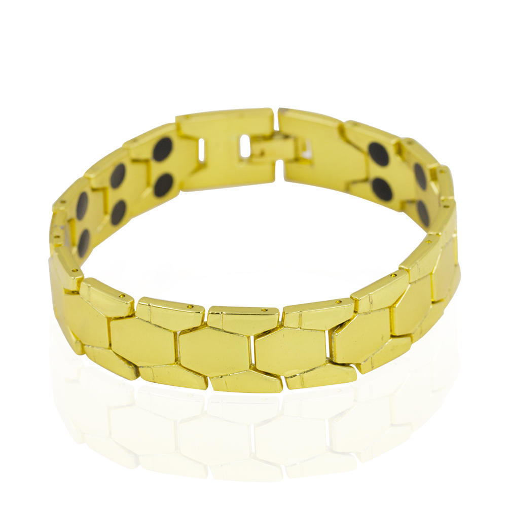 Fashion low MOQ 3pcs China wholesale gold color magnetic tungsten men bracelet