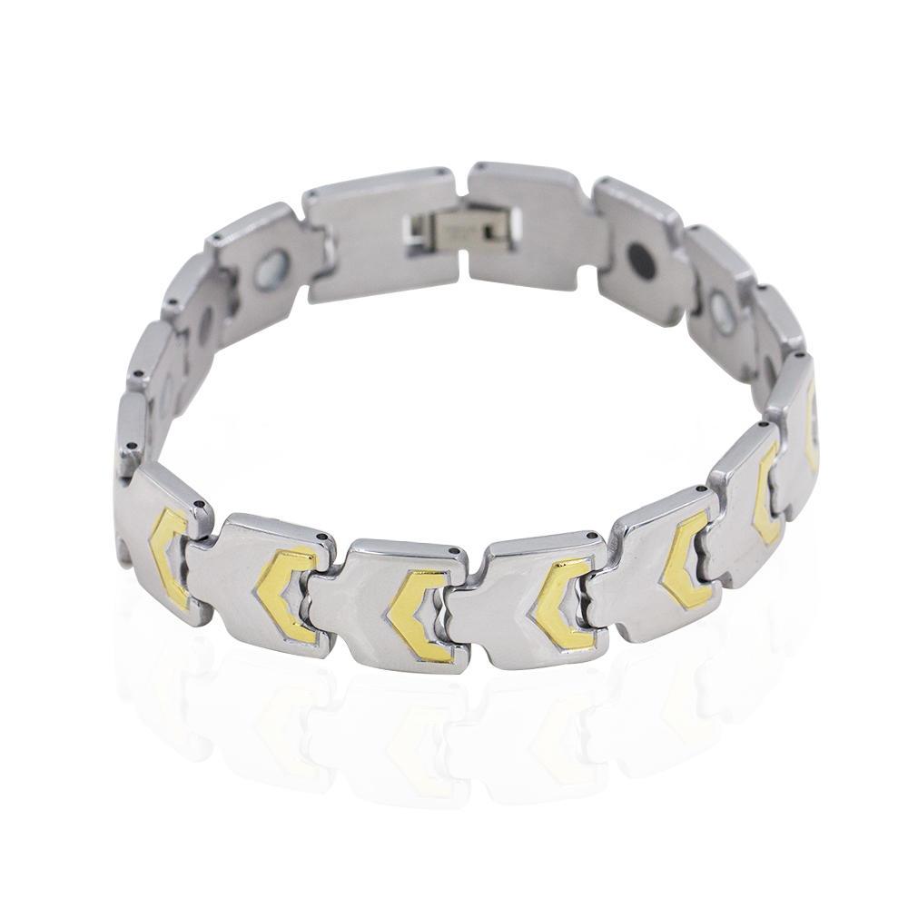 Latest low MOQ 3pcs China wholesale two tones color magnetic tungsten men bracelet