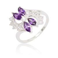 Wholesale Latest Design 925 Silver Female Violet Main Stone Ladies Rings