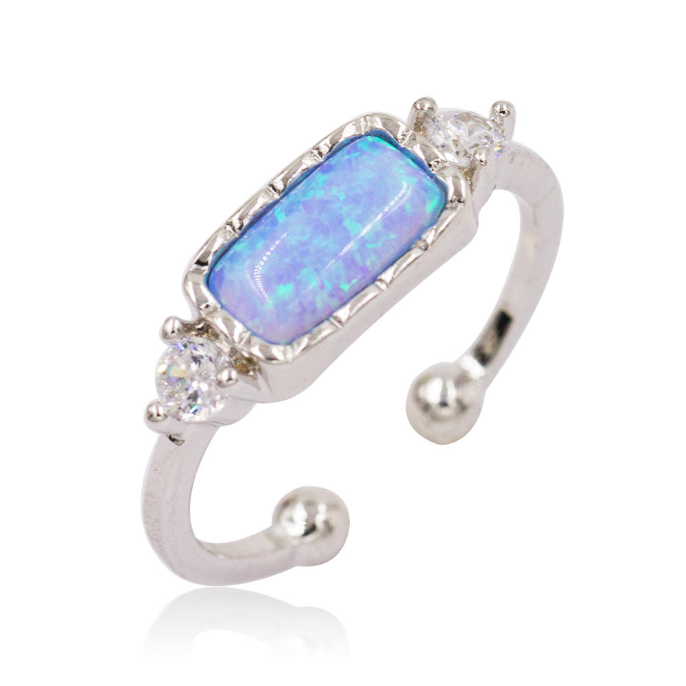 China Lovely Cute Fashion 925 Silver Plated Blue Opel Rings