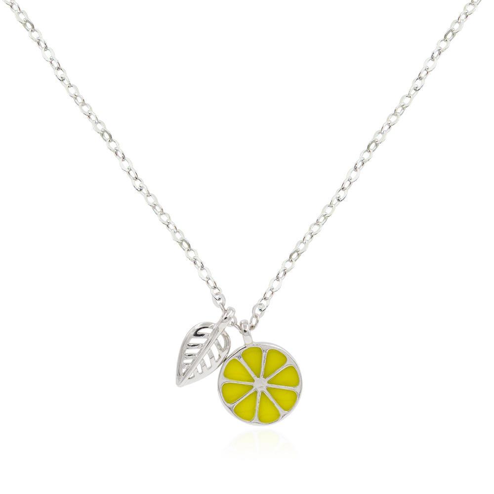 Korea Cute Lemon And Leaves Fruit Ladies Epoxy Coloring Friendship Necklace