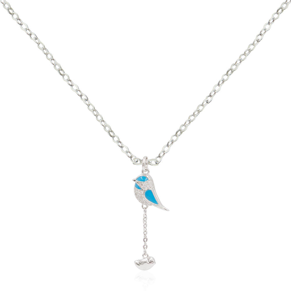 Good Luck Parrot Colorful Bird Auspicious Animal 925 Silver Jewels Necklace