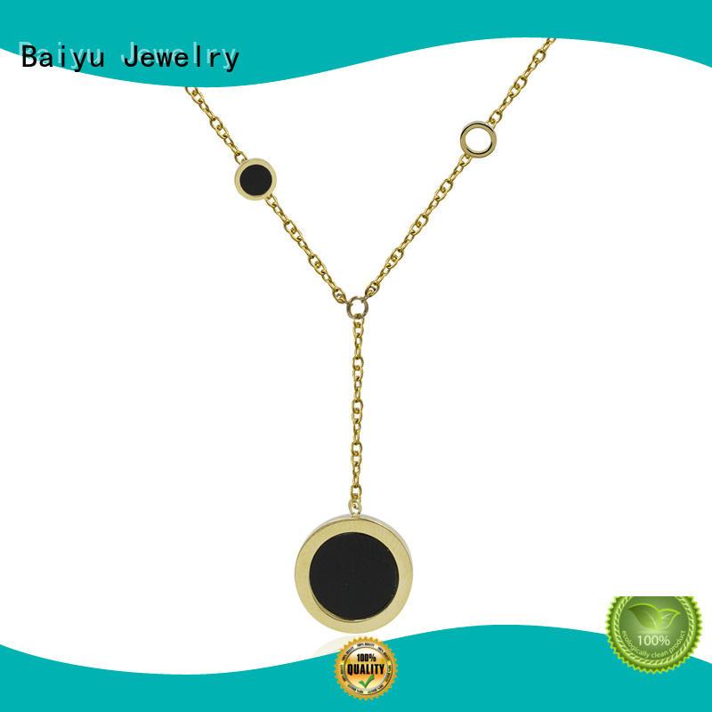 Baiyu Jewelry fashion designs wholesale stainless steel chains rhinestones for women