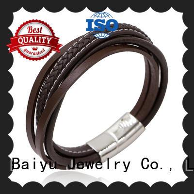 multi mens leather bangle high quality for girls Baiyu Jewelry