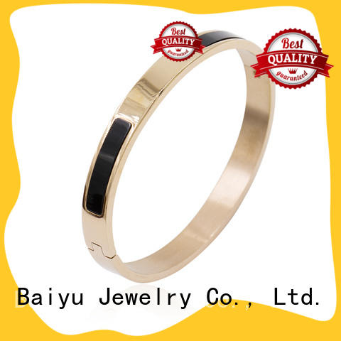 Baiyu Jewelry unique shaped stainless steel bangles online with stone with jewelry