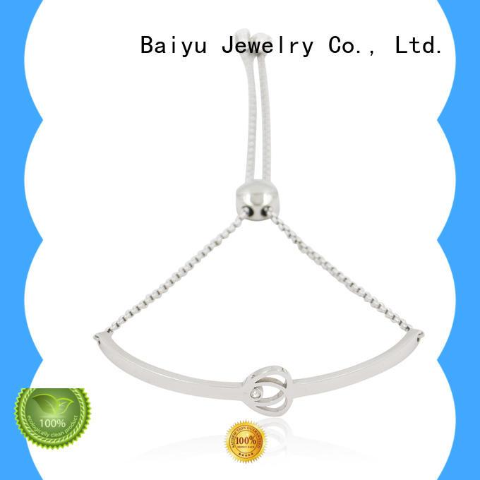 Baiyu Jewelry fashion leather bangle plating with diamond