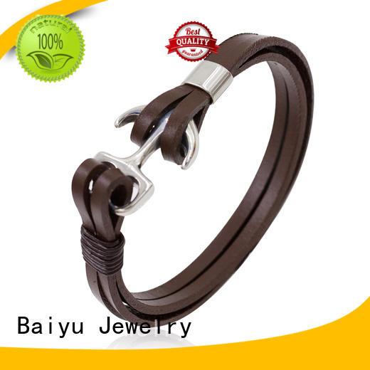 Baiyu Jewelry leather bangle bracelets top brand for gift