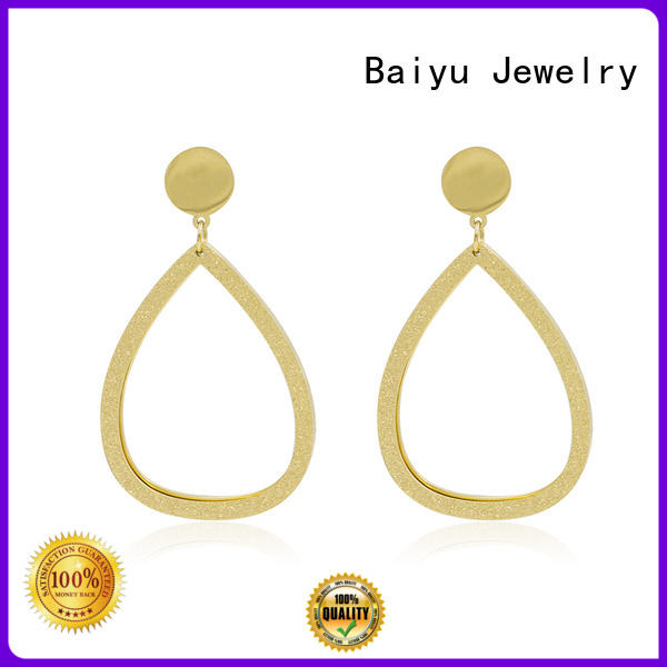 Baiyu Jewelry green mens stud earrings black stainless steel fashion