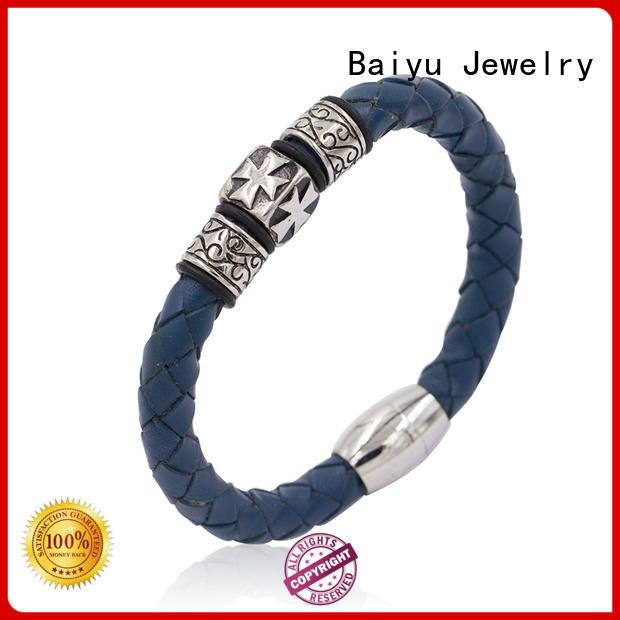 Baiyu Jewelry leather bangle bracelets for gift