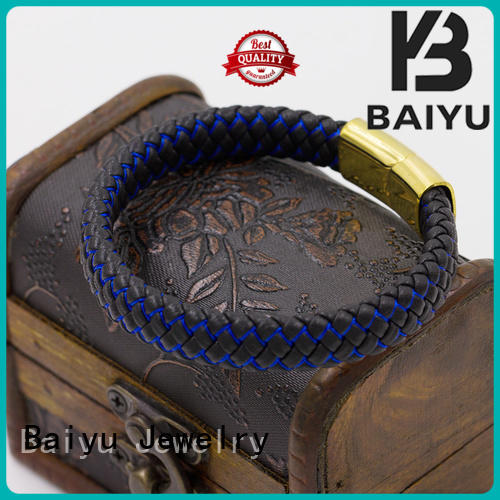 Baiyu Jewelry mens leather bangle top brand for gift