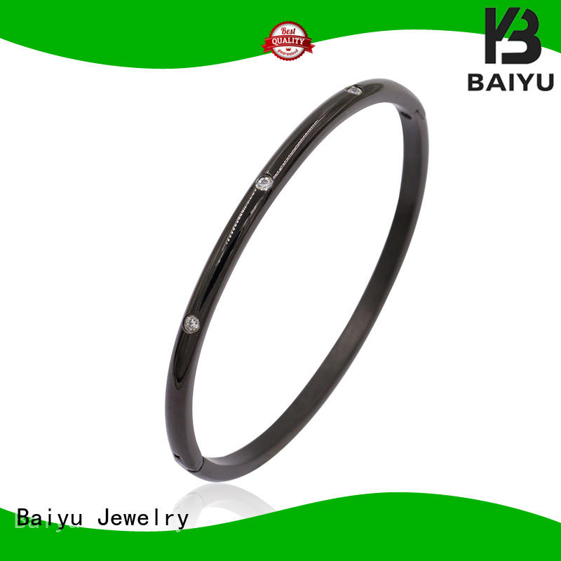 Baiyu Jewelry simple antique bangles with flower with diamond