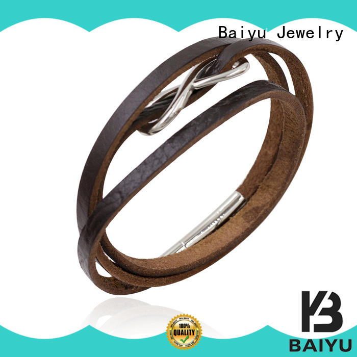 brown leather bangle bracelets for gift Baiyu Jewelry