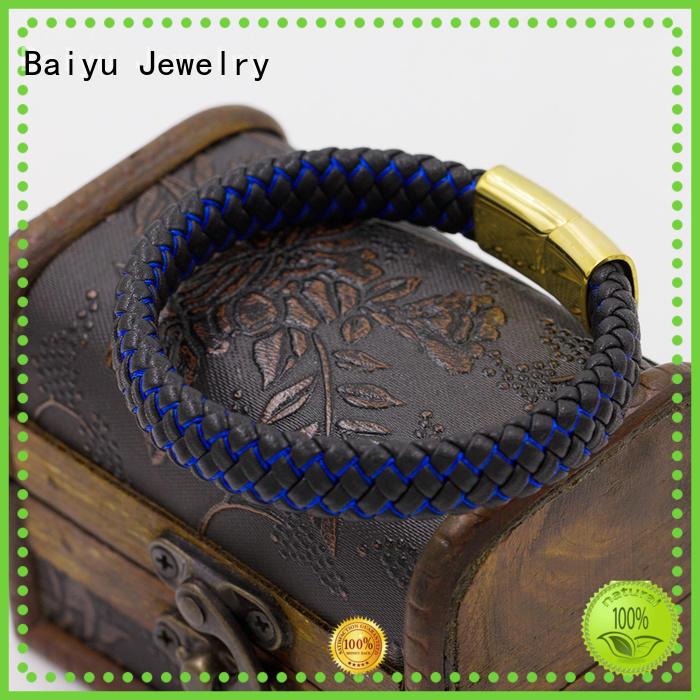 three womens leather bangles high quality for wholesale Baiyu Jewelry