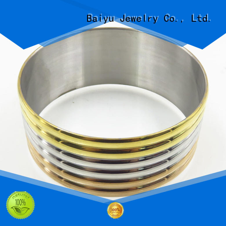 round stainless bangle bracelet design for lovers Baiyu Jewelry