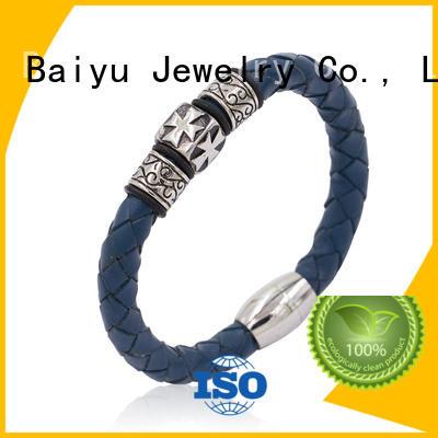 steel leather bangle brown for wholesale Baiyu Jewelry