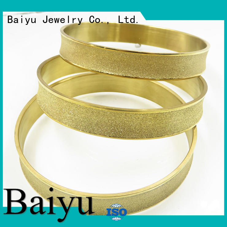 three gold stainless steel bangles Baiyu Jewelry Brand