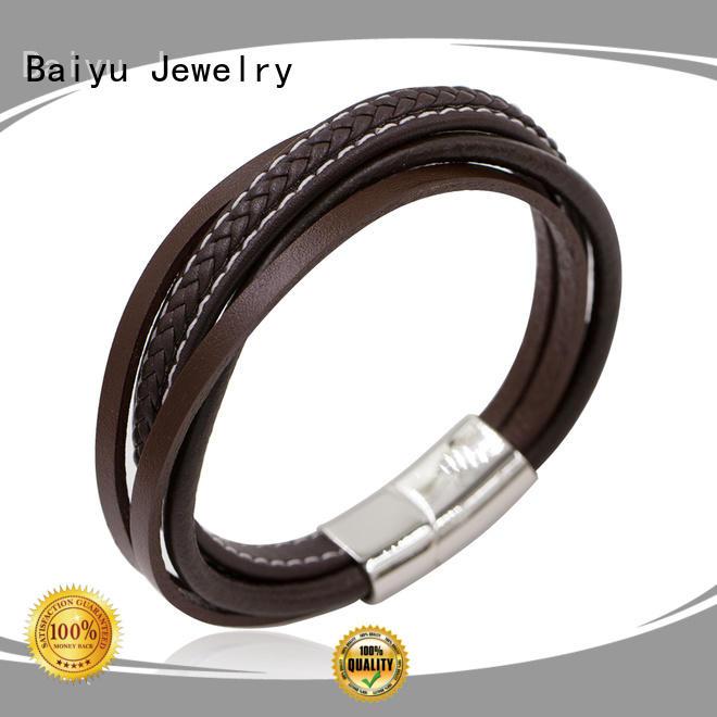 Baiyu Jewelry leather bangle top brand for girls