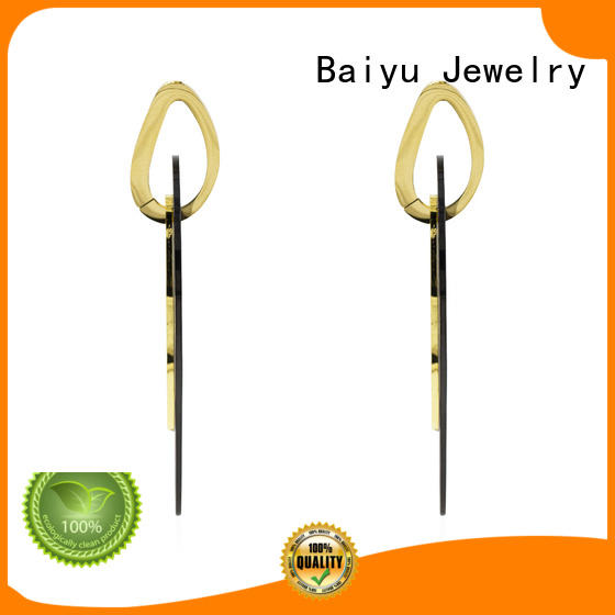 Baiyu Jewelry real pear surgical stainless steel stud earrings European style for girlfriend