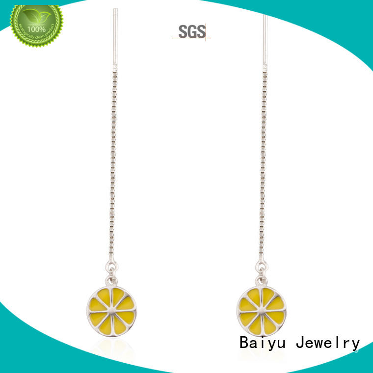 925 Sterling Silver Dangle Lemon Yellowcharm Earrings With Cubic Zircon For Women Jewellery AE50071-M112