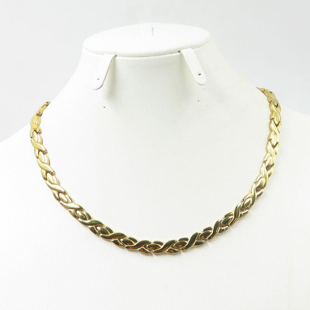Online shop curb cuban chain gold filled bracelet necklace jewelry set 18K gold
