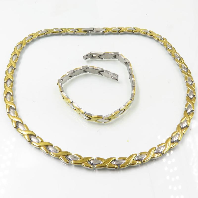 High quality luxury light gold bracelet necklace chain jewelry set
