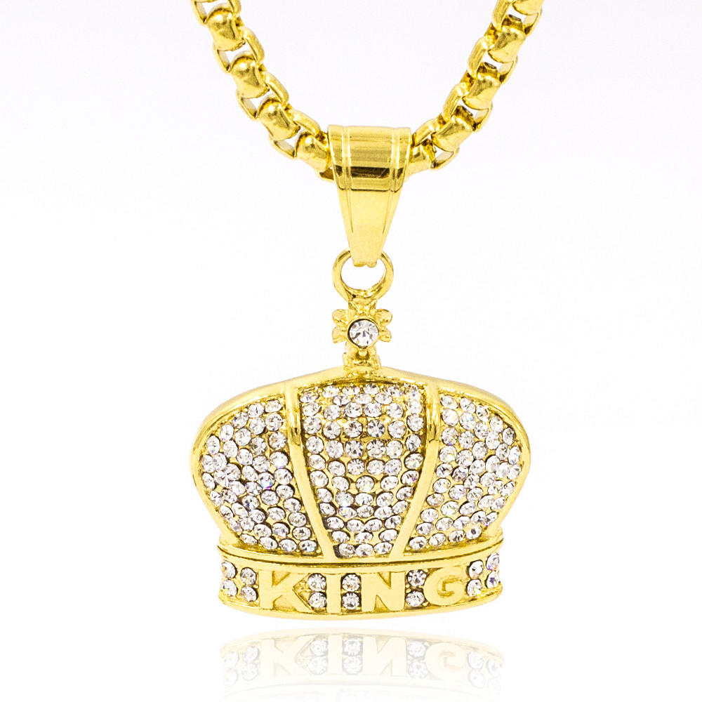Loved gold women crown pendant necklace