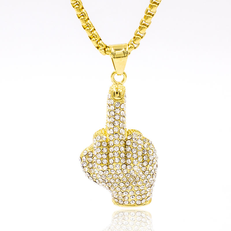 Stainless steel gold fist necklace for women with crystal
