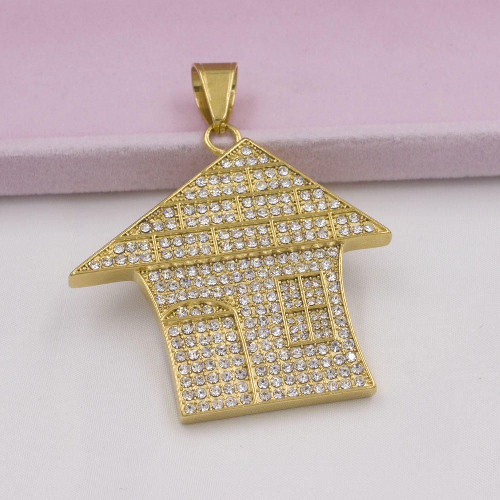 For beautiful girl crystal house pendant necklace