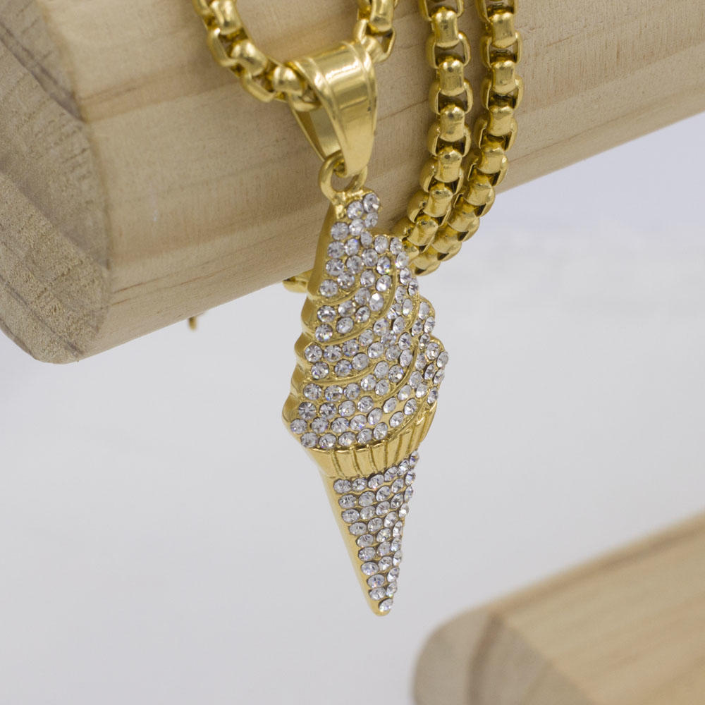Ice-cream crystal pendant with gold chain necklace for girls