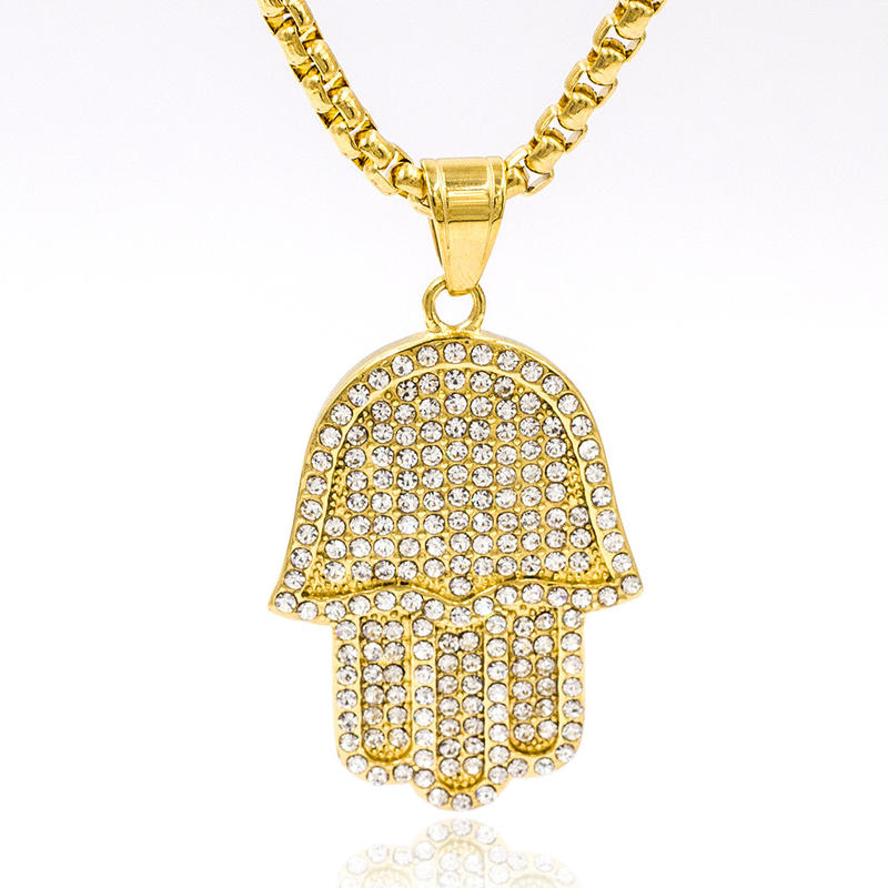 Famous crystal hand pendant statement women necklace