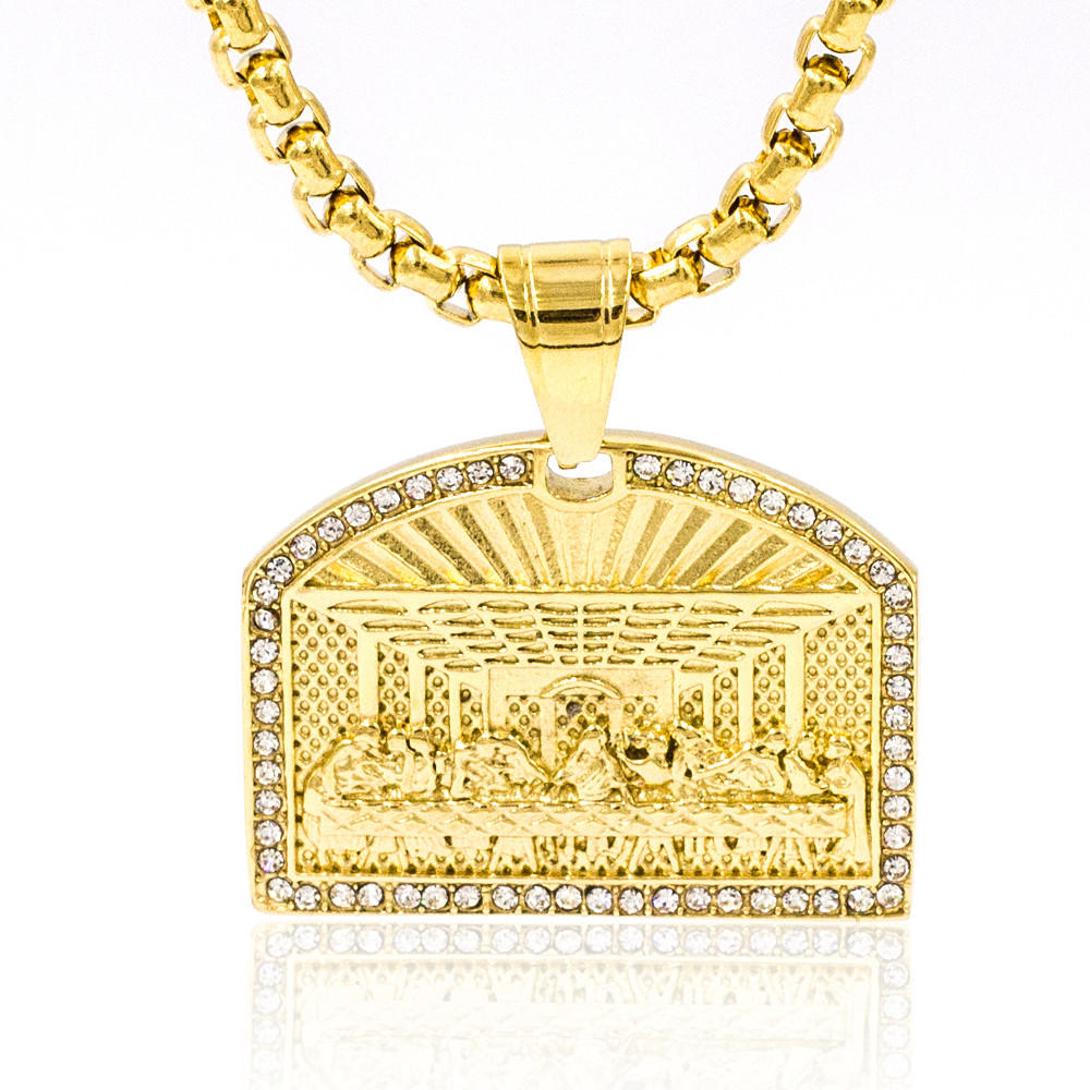 High quality personalize engraved crystal stone necklace in gold color
