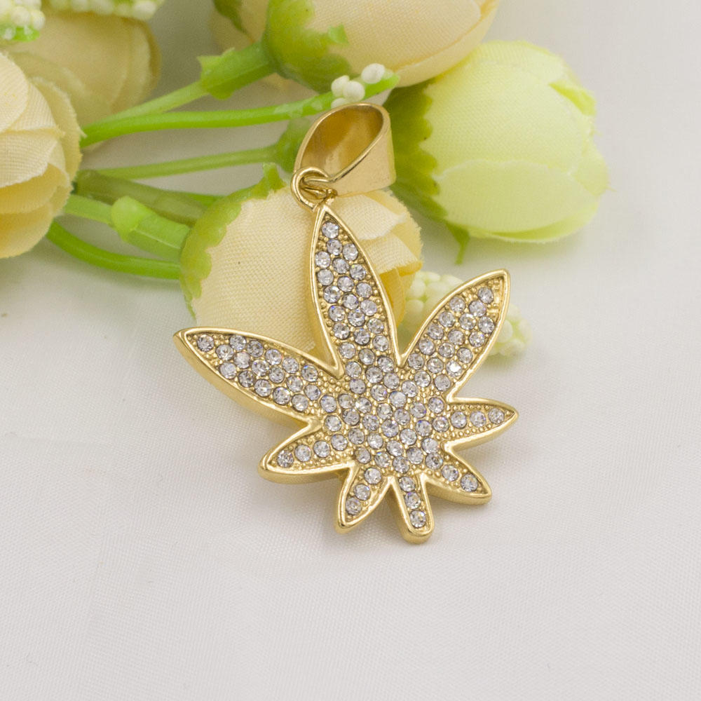 Beautiful leaf shape smart necklace gold plated jewelry with crystal stone